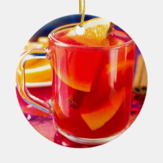 Transparent mug with citrus mulled wine ceramic ornament