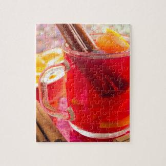 Transparent mug with citrus mulled wine, cinnamon jigsaw puzzle