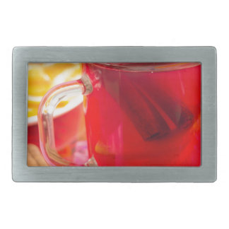 Transparent mug with citrus mulled wine, cinnamon rectangular belt buckles