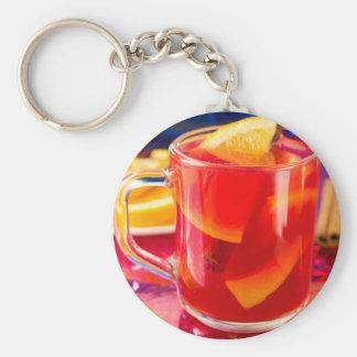 Transparent mug with citrus mulled wine keychain