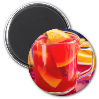 Transparent mug with citrus mulled wine magnet