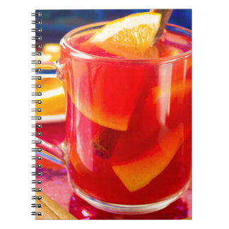 Transparent mug with citrus mulled wine notebooks