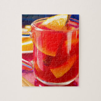 Transparent mug with citrus mulled wine puzzle