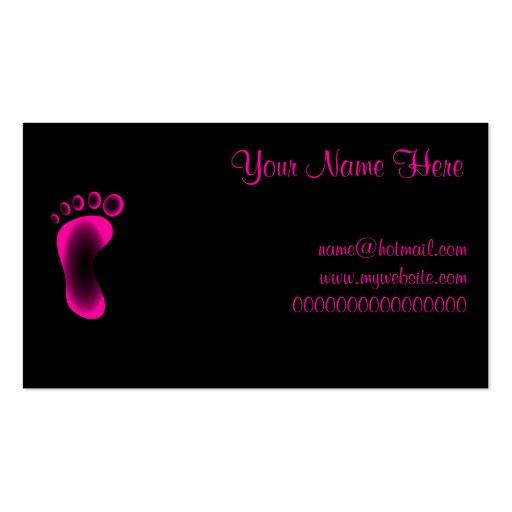 Transparent Pink Foot Business Card Templates