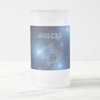 Transparent Pisces Frosted Glass Beer Mug