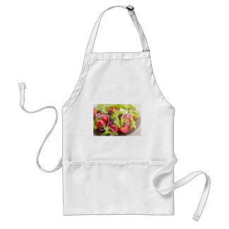 Transparent plate with vegetable salad closeup standard apron
