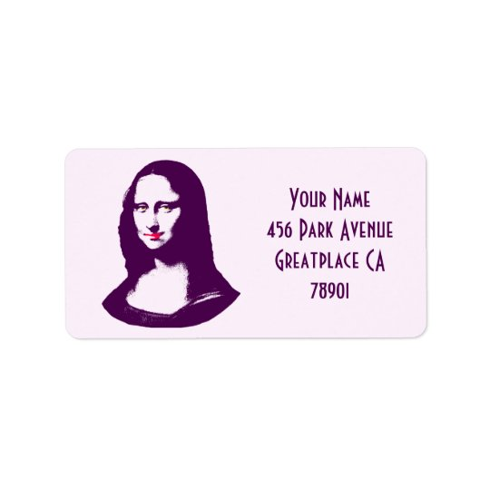 Transparent Pop Art Mona Lisa Address Lable Label