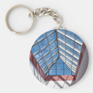 Transparent roof of the shopping center basic round button keychain