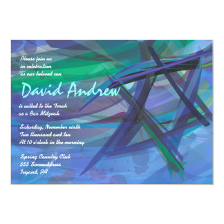 TRANSPARENT STAR Bat Bar Mitzvah Invitation blue