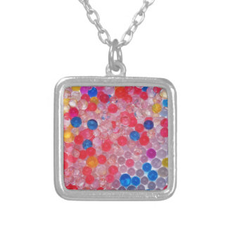 transparent water balls silver plated necklace