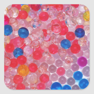 transparent water balls square sticker