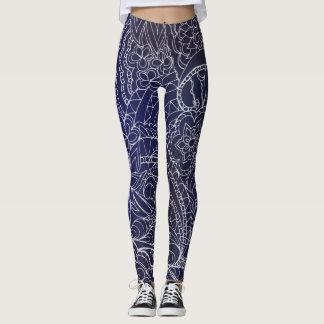 transparent white blue zen pattern-3 dark gradient leggings