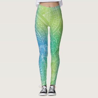 transparent white blue zen pattern gradient leggings
