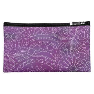 transparent white zen pattern dark violet gradient makeup bag