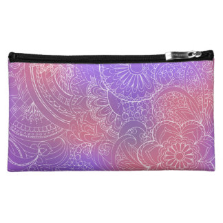 transparent white zen pattern violet gradient cosmetic bag
