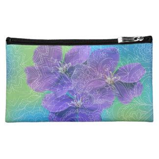 transparent white zen pattern violets cosmetic bag