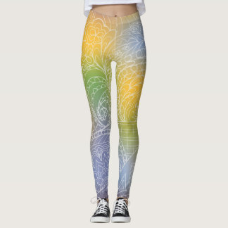transparent white zen pattern yellow gradient leggings