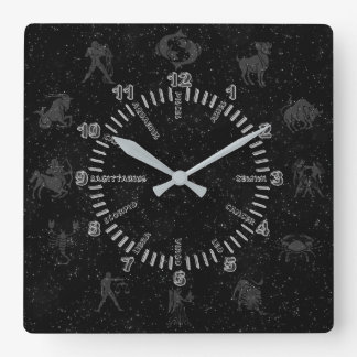 Transparent zodiac signs square wall clock