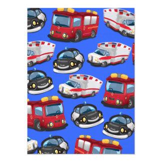 Transport de pompiers de police, d'ambulance et carton d'invitation  13,97 cm x 19,05 cm