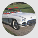 Transportation 077,classic cars,corvette,a classic round stickers