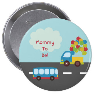Transportation Bus Personalized Mommy to Be Button