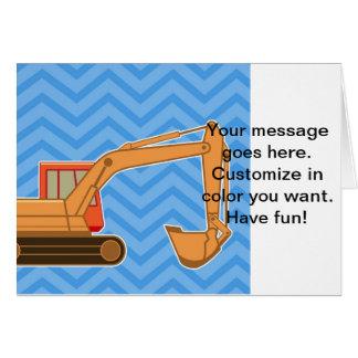 Transportation Heavy Equipment Backhoe  – Blue Greeting Card