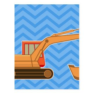 Transportation Heavy Equipment Backhoe  – Blue Postcard