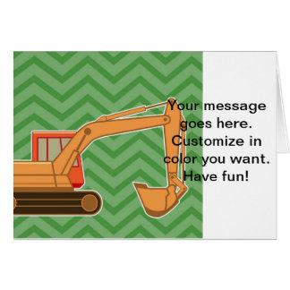 Transportation Heavy Equipment Backhoe - Green Greeting Card