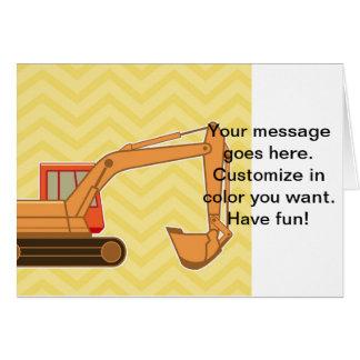 Transportation Heavy Equipment Backhoe - Yellow Greeting Card
