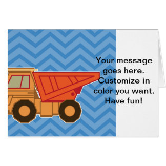 Transportation Heavy Equipment Dump Truck - Blue Greeting Card