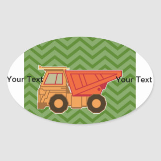 Transportation Heavy Equipment Dump Truck Oval Sticker