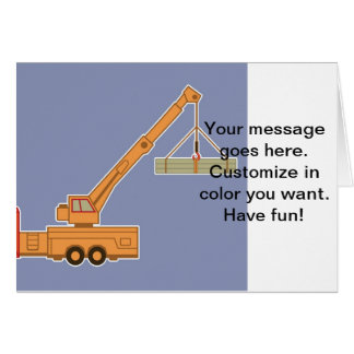 Transportation Heavy Equipment Orange Crane – Blue Greeting Card