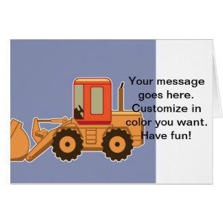 Transportation Heavy Equipment Payloader - Blue Greeting Card