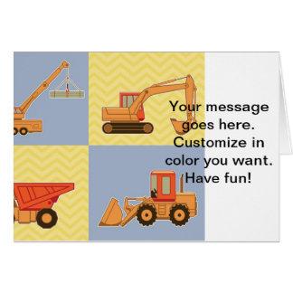 Transportation Heavy Equipments -Plain and Chevron Greeting Card