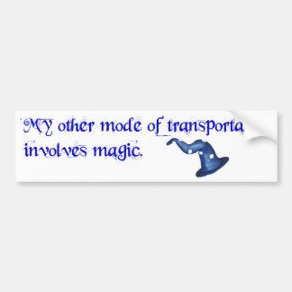 Transportation involves magic bumper sticker