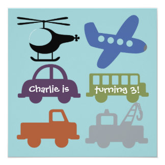 Transportation Vehicles Custom Birthday Invite