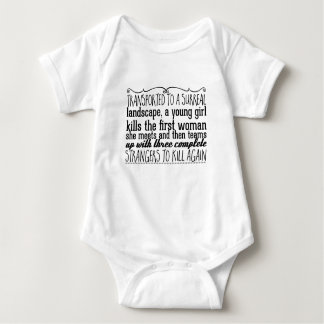 Transported to a surreal landscape, a young girl baby bodysuit