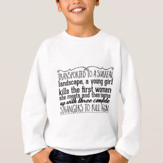 Transported to a surreal landscape, a young girl sweatshirt