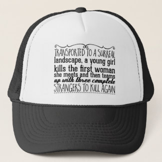 Transported to a surreal landscape, a young girl trucker hat