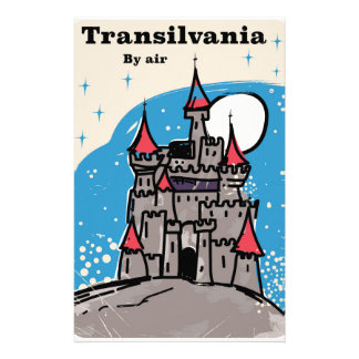 Transylvania Castle vintage travel poster Stationery