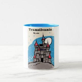 Transylvania Castle vintage travel poster Two-Tone Coffee Mug