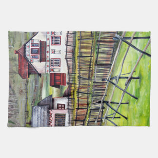 Transylvania, Romania, Picturesque Painted Scenery Kitchen Towel