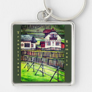 Transylvania, Romania Silver-Colored Square Keychain