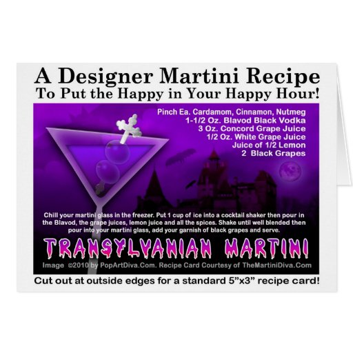 Transylvanian Halloween Martini Recipe Card