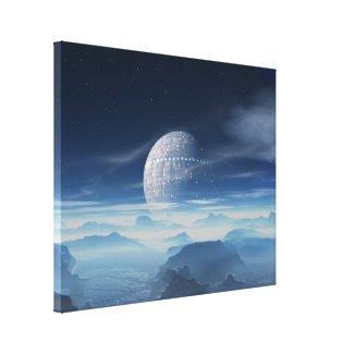 Tranus Alien Planet with Satellite wrapped canvas wrappedcanvas