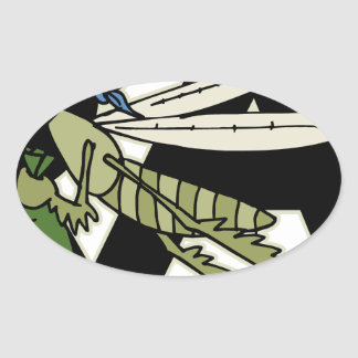 Trap Grasshopper Oval Sticker