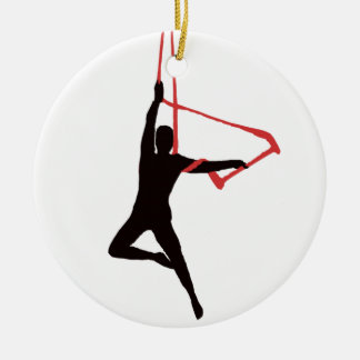 Trapeze Swing Aerialists Ceramic Ornament