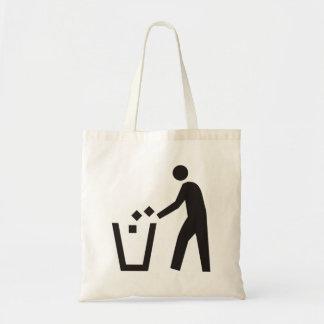 Trash Can Sign Canvas Bag