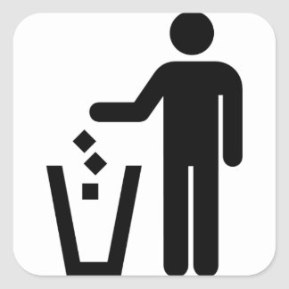 Trash Can Sign Black and White Square Sticker