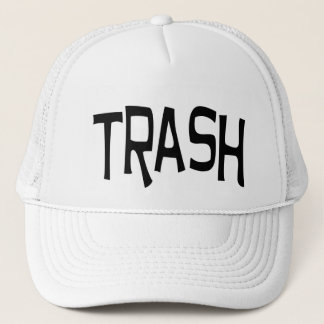 Trash print black trucker hat